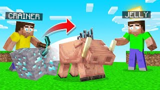 Minecraft But Breaking Blocks Spawns HOGLINS! (dangerous)