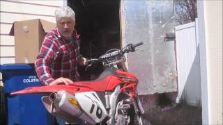 10. Digging out the old 04 Honda CRF250X to ride with my grandson on his KLX110