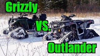 8. Yamaha Grizzly 700 vs. Can-Am Outlander 1000 - All Terrain Vehicle Track Race -  Feb.15, 2015