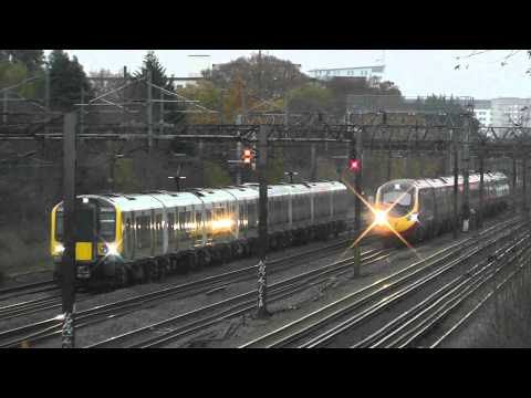London Midland 350 vs Virgin Trains Pendolino 390 Race at South Kenton Footbridge