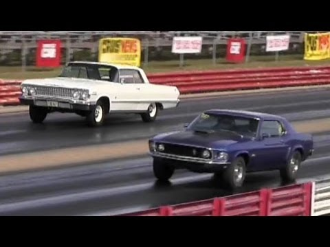 Rare 428 Cobra Jet Mustang vs Impala SS 409 / 425 HP - 1/4 Mile Drag Race - Road Test TV