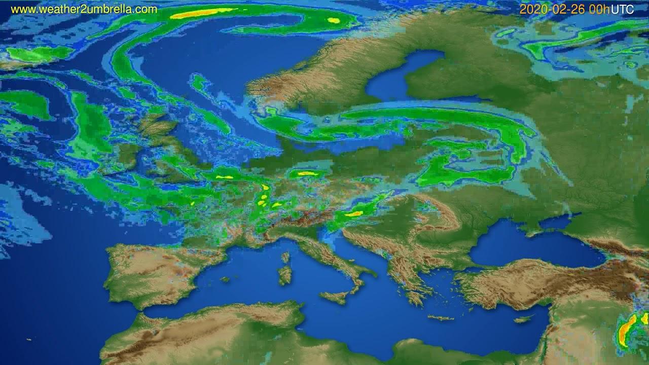 Radar forecast Europe // modelrun: 12h UTC 2020-02-25