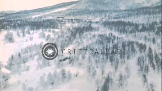 """Aerial views of Norway during NATO operation """"Arctic Express,"""" in 1970. HD Stock Footage"""