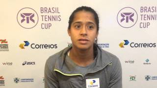 Teliana Pereira analisa vitória na estreia no Brasil Tennis Cup