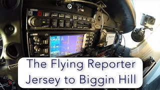 The Flying Reporter flies the return leg from Jersey to Biggin Hill in the PA28, crossing the English Channel at FL95, and landing ...