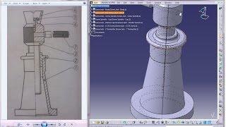 Catia V5 Tutorial|P2 Create Screw Jack|Nut|Mechanical Engineering Design