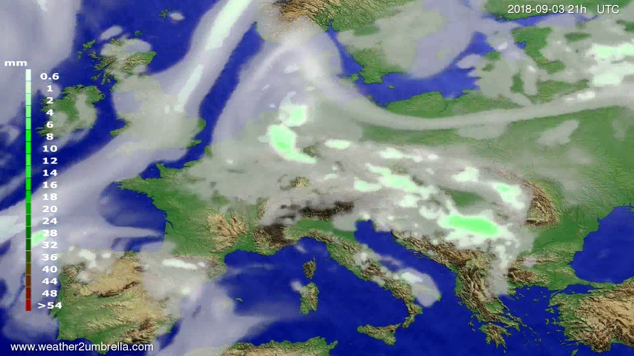 Precipitation forecast Europe 2018-08-31