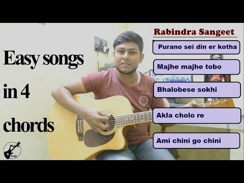 5 most popular Rabindra Sangeet ONLY in 4 CHORDS-HOW TO PLAY-Easy Guitar Lesson
