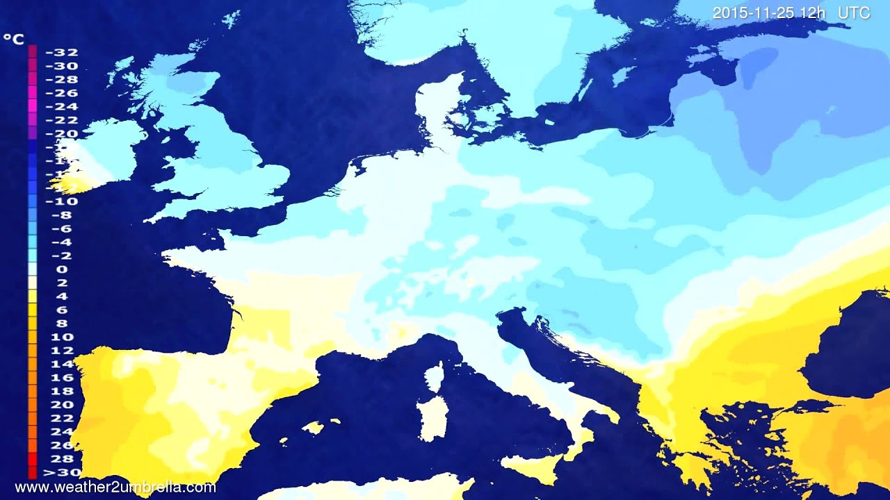 Temperature forecast Europe 2015-11-21