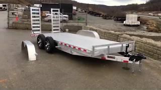 1. H&H HDA Aluminum Lowboy Equipment Trailer 7x18' 9990# GVW Stand Up Ramps Extruded Floor