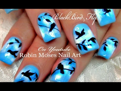 nail art - uccelli in volo