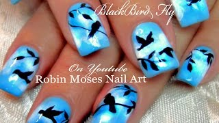 DIY Flying Black Bird Nails | Birds Nail Art Design Tutorial - YouTube