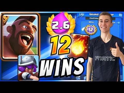 UNREAL 12 WIN W/ 2.6 HOG RIDER CYCLE DECK! — Clash Royale