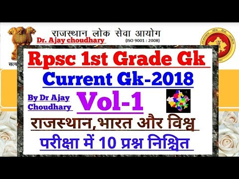 Rpsc 1st Grade Current(समसामयिक)Gk - [Vol-1] By Dr Ajay Choudhary👍