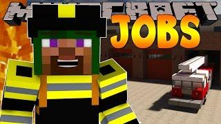 Minecraft Jobs : LITTLE LIZARD BECOMES A FIREMAN! (Custom Roleplay)