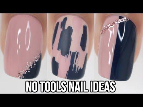 Nail designs - No Tool Nail Art! 5 Easy Nail ideas!