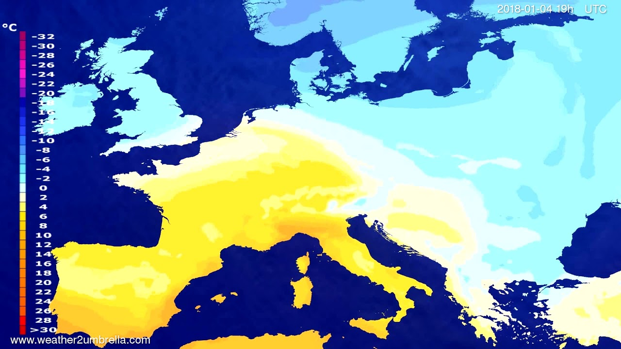 Temperature forecast Europe 2018-01-02