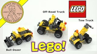 Lego Creator 3 In 1 Construction Vehicles - Bulldozer - Tow Truck & Utility Truck.  This was a fun little build and did not take long to do on video.  I tend to go slow and try to be as methodical as possible when putting these together.  I guess I worry to much that I put something together wrong or mess the directions up.  Which of the three mini vehicles did you like the most? Lucky Penny ThoughtsLPS-DaveLater!▶ About UsLucky Penny Shop is a family-friendly YouTube channel that features videos of kids food maker sets, slime, putty, new & vintage toys, games and candy & food from around the world! There are over 5500 videos!▶ Product InfoLego Creator 3 In 1 Construction Vehicles - Bulldozer - Tow Truck & Utility TruckVisit us online ▶ http://www.luckypennyshop.com/lego-creator-5761-mini-digger/▶ Watch More VideosLego Toys & Sets - Lego Scooby Doo - Lego Building - Sets - Lego Toy Reviews https://www.youtube.com/watch?v=hM-bRJMnqWw&index=1&list=PL27_x9U5H26u6hqM0S_HGA1ex2cQVZw6eLego Back To The Future DeLorean Time Machine Set #21103 - Complete Buildhttps://www.youtube.com/watch?v=V_hQvF4YghMLego Scooby-Doo Mystery Builder Campaign, Giant Surprise Box!https://www.youtube.com/watch?v=K5TnxVssmnwLego The Batman Movie Alarm Clock & Batman Buildable Watchhttps://www.youtube.com/watch?v=hM-bRJMnqWw▶ Follow UsTWITTER  http://twitter.com/luckypennyshop FACEBOOK  http://www.facebook.com/LuckyPennyShopINSTAGRAM  http://instagram.com/LuckyPennyShopGOOGLE+  https://plus.google.com/+luckypennyshopPINTEREST  http://www.pinterest.com/luckypennyshop/LPS WEBSITE  http://www.luckypennyshop.com/Sound Effects by http://audiomicro.com/sound-effectsThis video is not intended as an endorsement of the product shown. We were not paid or provided other non-monetary advantages or incentives to show this product.