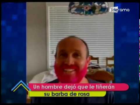 Un hombre dejó que le tiñeran su barba de rosa