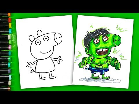 How to draw HULK - Peppa Pig / Coloring Books Peppa Pig