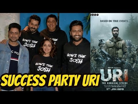 Vicky Kaushal, Yami Gautam and Mohit Raina SUCCESS PARTY Of Movie URI With Whole Team
