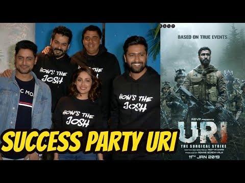 Vicky Kaushal, Yami Gautam and Mohit Raina SUCCESS PARTY Of Movie URI With Whole Team