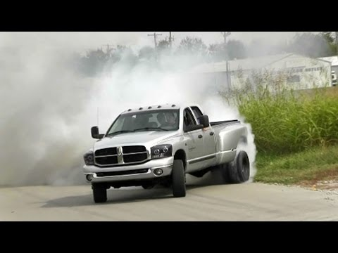 CRAZY Dually Truck Fishtail Burnout Video!