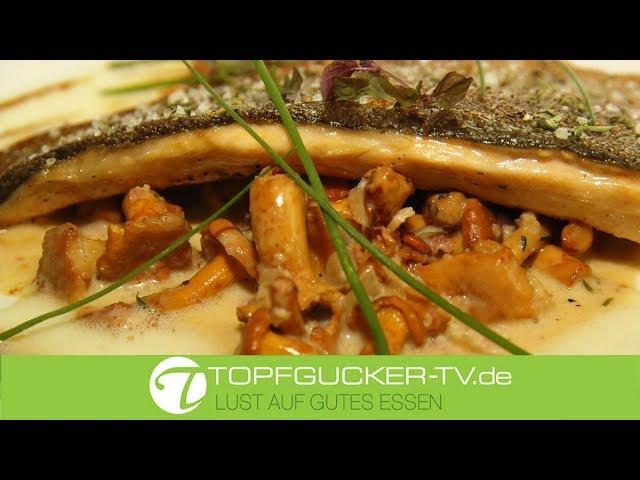 Gebratene Moritzburger Lachsforelle mit Rahmpfifferlingen   Topfgucker-TV