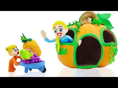SUPERHERO BABY MOTHER CARE PUMPKIN PLAYHOUSE  Play Doh Stop Motion Cartoons