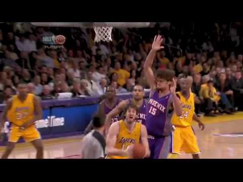 Robin Lopez blocks Pau Gasol; Suns vs. Lakers- 2010 West Semi Finals