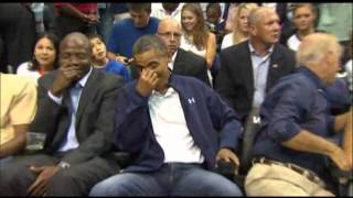 Raw Video: Kiss Cam Catches Obamas