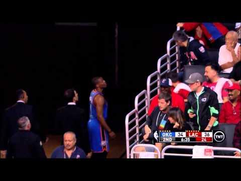 center - Oklahoma City Thunder guard Russell Westbrook had a brief exchange with a fan during a game against the Los Angeles Clippers at the Staples Center.