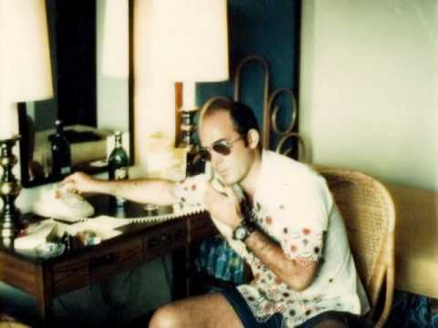 Hunter S. Thompson going on a roller coaster of emotions over a DVD player