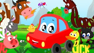 Little Red Car - Animals Sound Song In Words World | Learn Animal Names, Sounds And Spellings