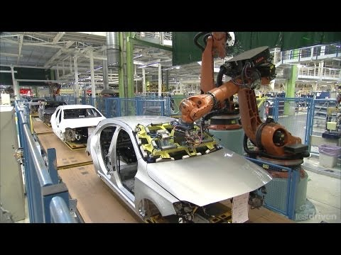 production - Footage of the new Mercedes A-Class production line at the Rastatt plant in Germany.