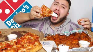 DOMINOS Pizza + Hot Wings MUKBANG