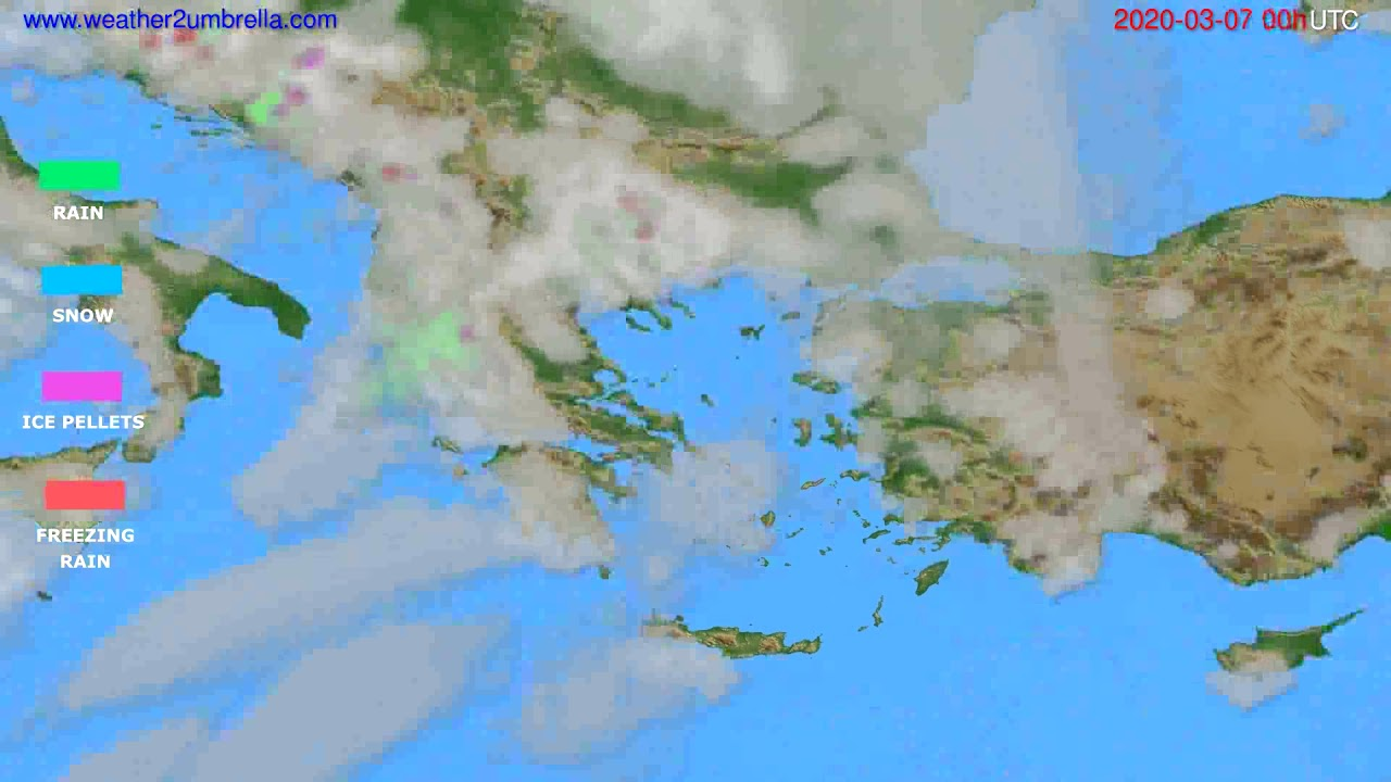 Precipitation forecast Greece // modelrun: 00h UTC 2020-03-06