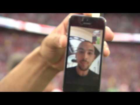 Video: Arsenal players Facetime Theo Walcott from the Wembley pitch after FA Cup win
