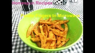 Spicy Potato Fingers In Microwave Oven | Potato Fries In Microwave