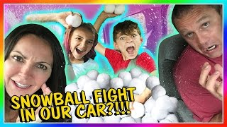 SNOWBALL FIGHT INSIDE OUR CAR! | We Are The Davises
