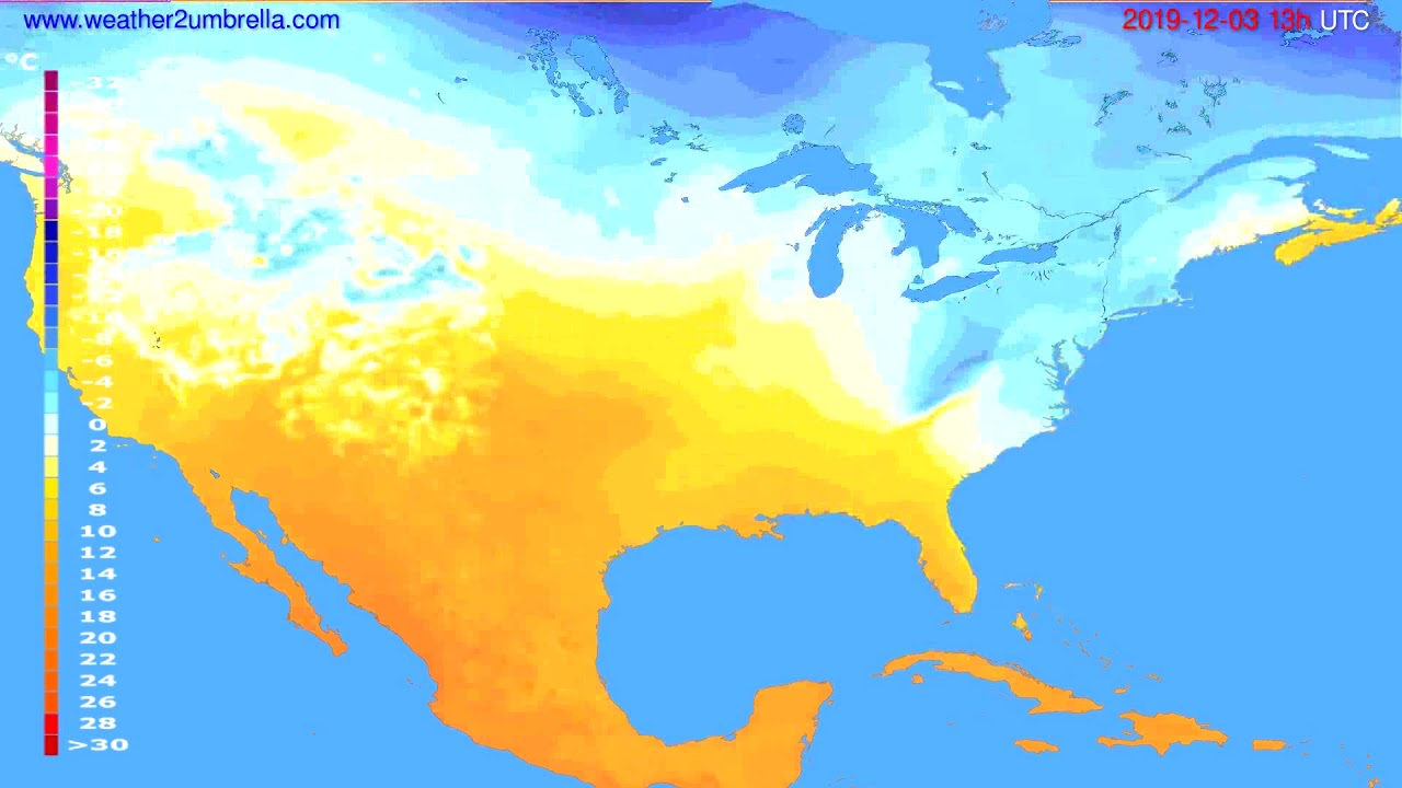 Temperature forecast USA & Canada // modelrun: 00h UTC 2019-12-02
