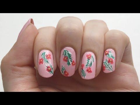 Tropisches Blumen-Nageldesign tropical nails  'seni Nageldesign