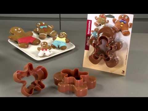 Видео Формочки для печенья из пластмассы Tescoma Двухсторонние формочки человечки DELICIA, 4 размера Tescoma 630867