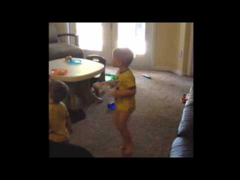 This kid really loves playing Wii Boxing...
