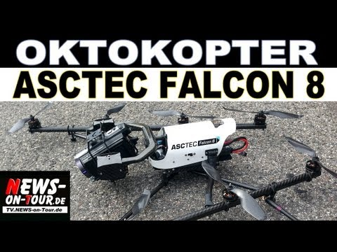 oktokopter - AscTec Falcon 8 - Facts Up to 650 g payload Up to 20 min flight time with standard payload 10 m/s maximum wind speed Redundant propulsion Unique field of vie...