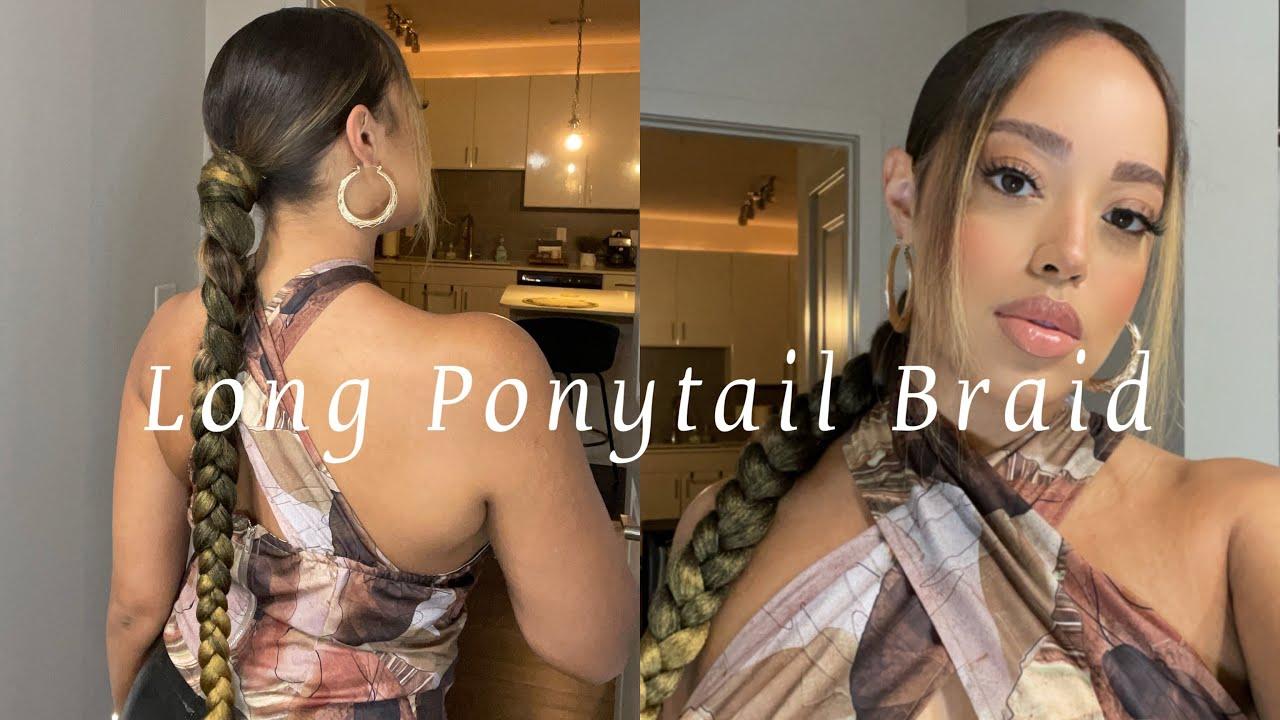 Long Ponytail Braid Using Braiding Hair | DIY| Natural Hair | Myia Nicole