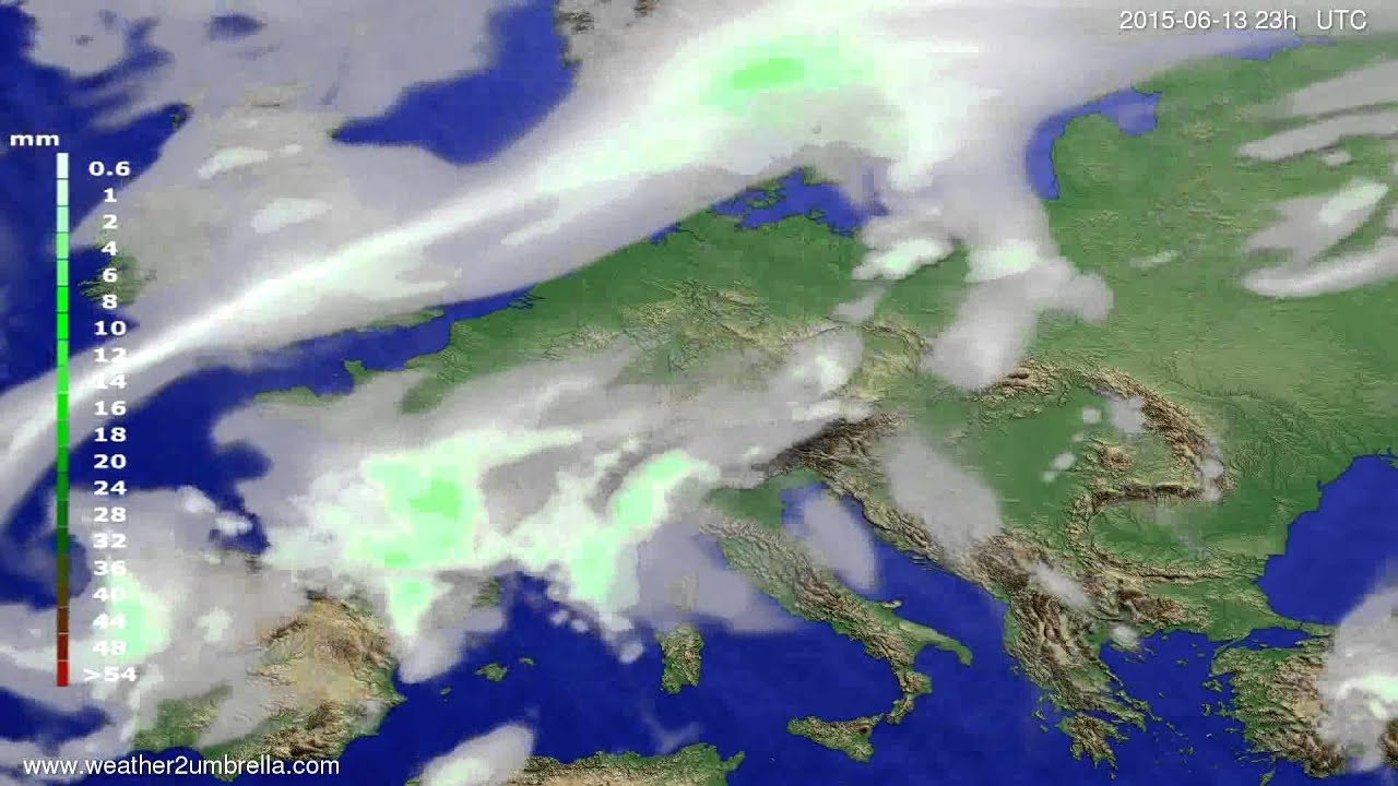 Precipitation forecast Europe 2015-06-11