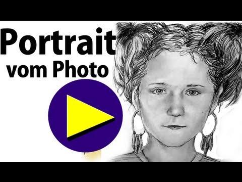 Portrait nach Fotovorlage zeichnen lernen – How to draw Portrait from photo template?