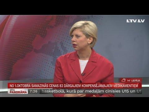 """Veselības ministres Andas Čakšas saruna """"Rīta Panorāma"""" par aktualitātēm kompensējamo zāļu sarakstā un pieejamo ES struktūrfondu atbalstu"""