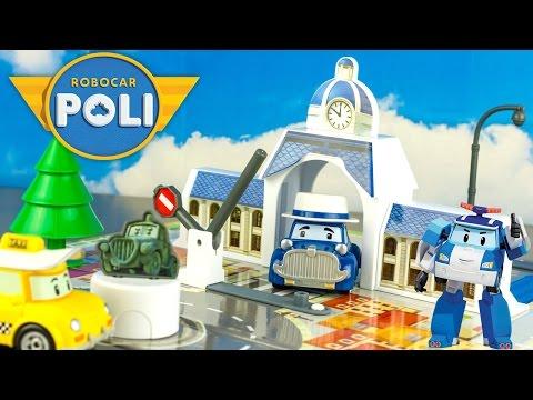 Robocar Poli Hotel de Ville Aire de jeu 3D Vroom Ville Playmat Toy Review Juguetes 로보카폴리 Jouet